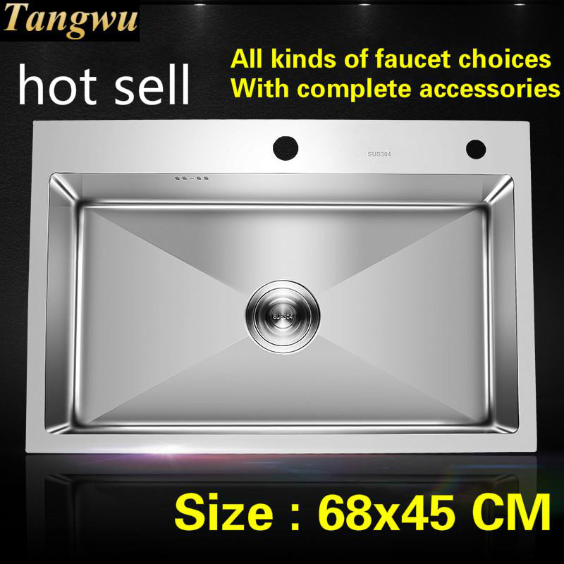 Free Shipping Common Kitchen Sink Durable 304 Stainless Steel Hand Made Single Slot Hot Sell 680x450 MM