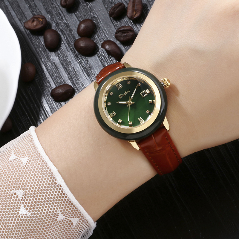 Women's Latest Jade Watch Advanced Movement Brown Leather Strap White Jade Outer Ring Waterproof Gift Box Reloj De Las Señoras