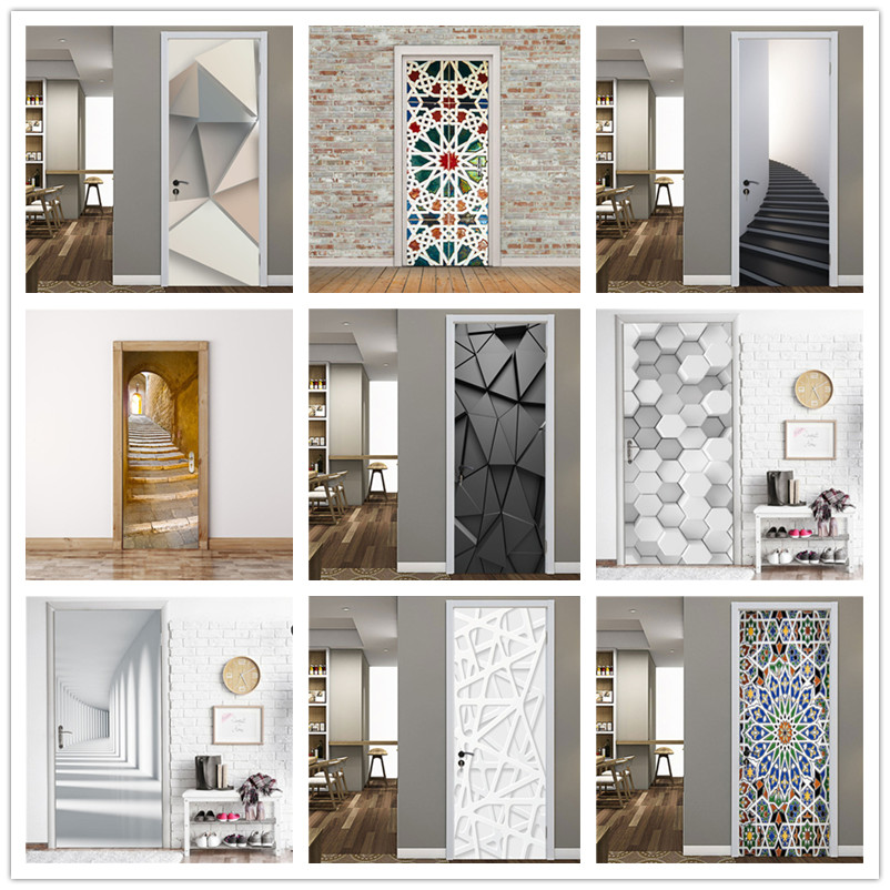 2PCS/Set Black Geometric Door Sticker Home Decor Self Stick Wallpaper Waterproof Renovation Poster Wallpaper On The Door Decals