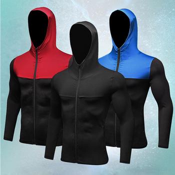 Męska jesienno-zimowa odzież sportowa fitness odzież do biegania odzież treningowa zipper codzienna bluza z kapturem wiatroszczelna szybkoschnąca kurtka męska tanie i dobre opinie yuerlian Pasuje prawda na wymiar weź swój normalny rozmiar Szybkie suche
