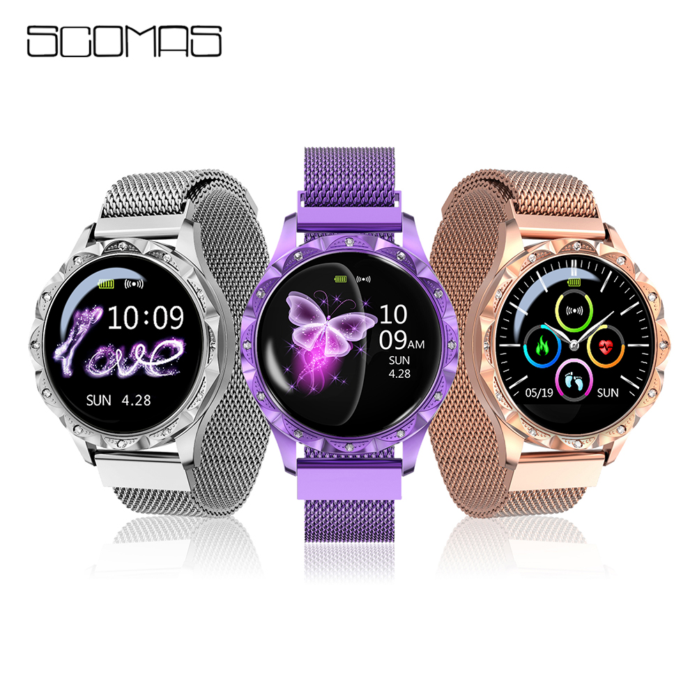SCOMAS <font><b>2019</b></font> <font><b>New</b></font> Luxury <font><b>Smart</b></font> <font><b>Watch</b></font> Women Sport IP67 Waterproof Bluetooth For Android IOS Iphone Smartwatch Gift For Girlfriend image