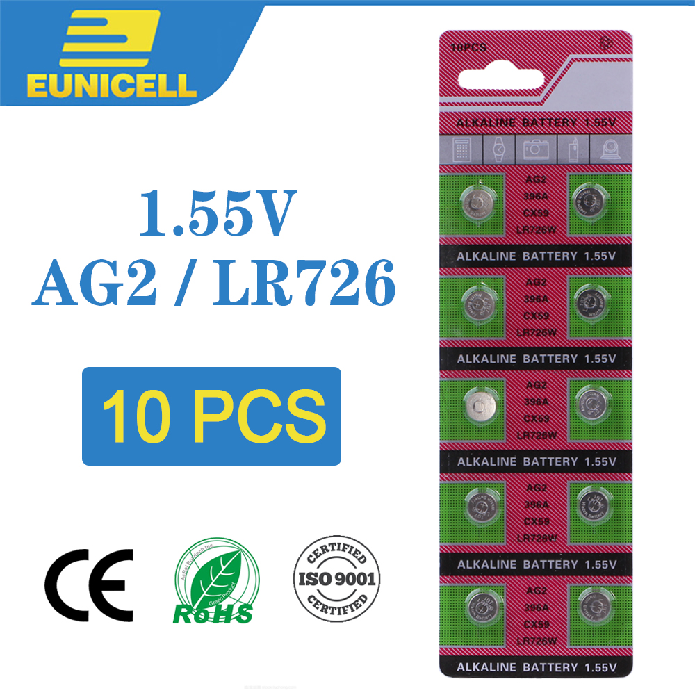 10pcs Alkaline Cell Coin Battery 1.55V AG2 LR726 Button Batteries 396 SR726 196 SG2 SR9 726 LR59 AG 2 For Watch Toys