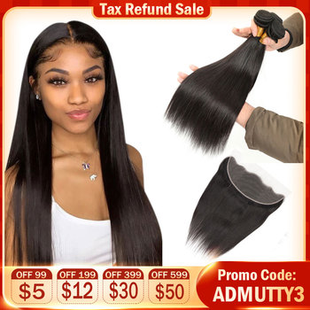 Peruvian Straight Hair Bundles With Closure Human Hair Bundles With 13*4 Frontal Double Weft Hair Weave Extension Natural Color image