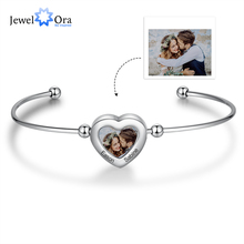 Bangles Bracelets Engraving-Name Stainless-Steel Customize Jewelora Women Photo Heart