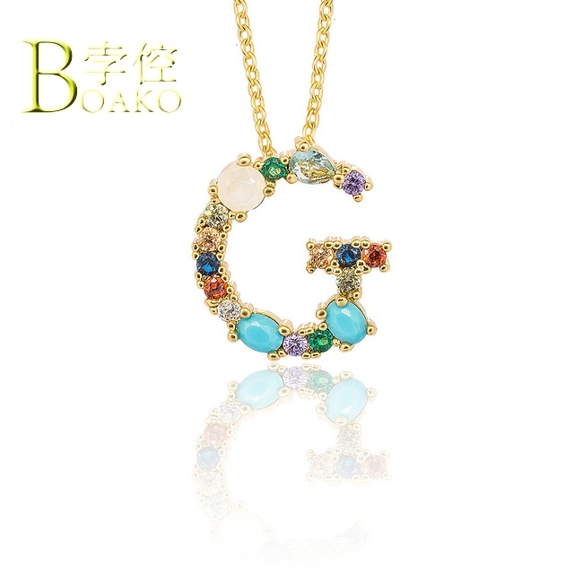 BOAKO Colorful Crystal Necklace Women Long Chain Initial Letter Necklace Engagement Statement Necklace Girl Sweater Chain B5 in Pendant Necklaces from Jewelry Accessories