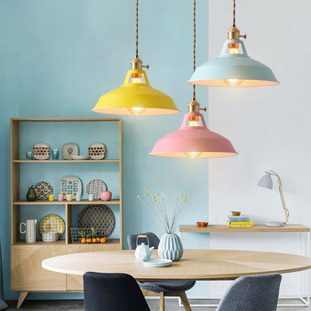 Retro  Industrial style Colorful Restaurant kitchen home lamp Pendant light  Vintage Hanging Light lampshade Decorative lamps 5