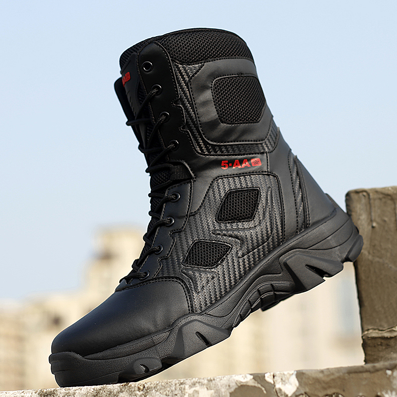 High Top Tactical Boots Men Shoes Waterproof Hiking Shoes Outdoor Hunting Boots Mountain Shoes Man Desert Combat Military Boots