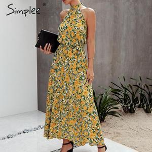 Image 3 - Женское платье с цветочным принтом Simplee размера плюс, без рукавов, с поясом и высокой талией, богемное Макси Платье, повседневные праздничные Вечерние платья на лето