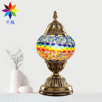 Creative Night Light New Turkey Style Individual Bedside Hotel Home Handmade Lamp Glass Decoration Colorful Retro Table Lamp