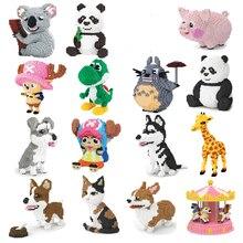 Xizai Dier Huisdier Husky Schnauzer Corgi Hond Perzische Kat Panda Giraffe Varken Mario Yoshi Diy Mini Bouwstenen Toy Geen doos