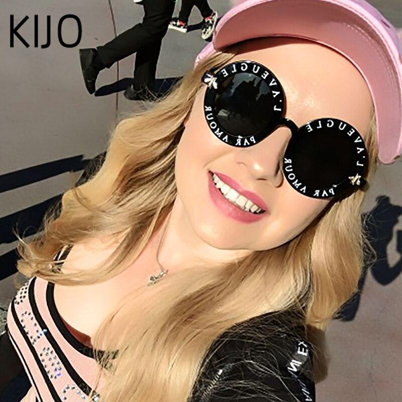 2020  Fashion Unisex Round Retro Sunglasses Women Vintage Glasses Circle Classic Bee Letter Sun Glasses Men Shades Visor Oculos