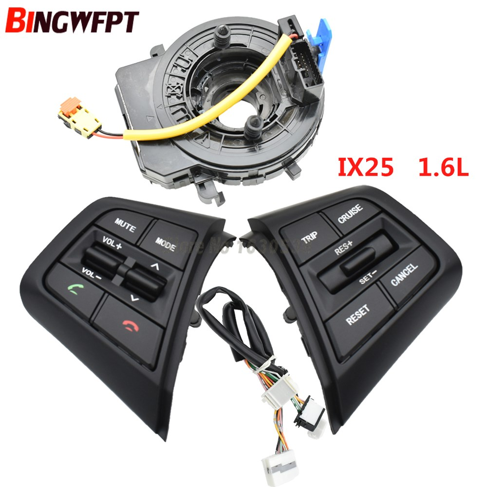1set switch + wire+coil For Hyundai ix25 (creta) 1.6L Steering Wheel Cruise Control Buttons Remote Control Volume Button Car Switches & Relays     - title=