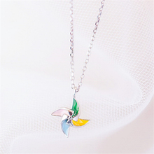 Cute Romantic Colored Windmill Pendant necklace Personalized 925 Sterling Silver Long Necklaces Woman 2019 Lady Jewellery KXL189
