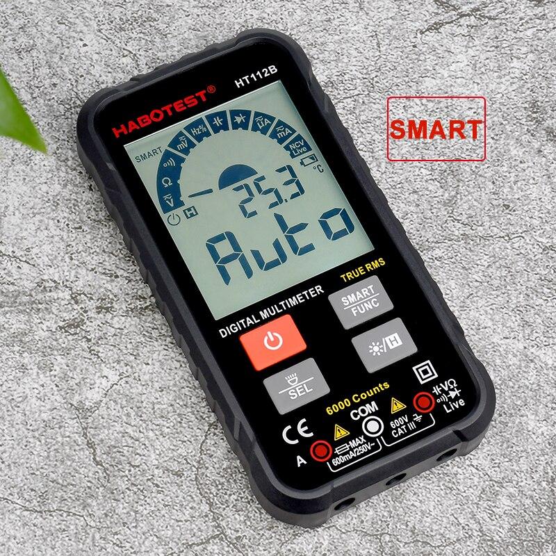 Profissional habertest ncv multímetro digital série ohm capacitância hz ac dc verdadeiro rms medidor de multímetro testador de tensão de retenção de dados