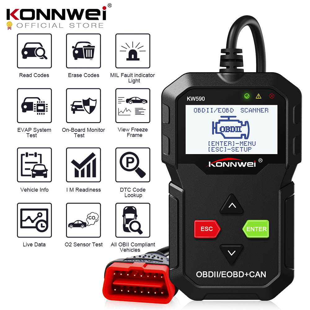 2019 OBD Diagnostic Tool KONNWEI KW590 Car Code Reader Automotive OBD2 Scanner Support Multi-Brands Cars&languages Free Shipping