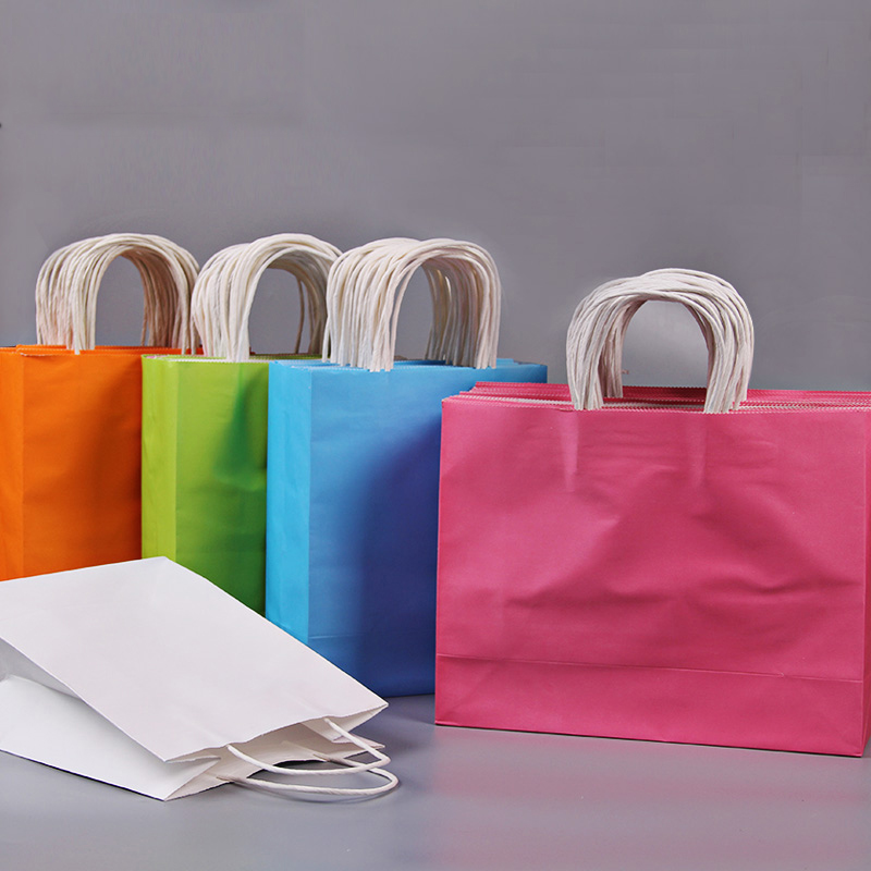 20pcs/lot Handle Kraft Paper Gift Bag Festival Gift Bags Paper With Handles Wholesale Custom Printed Bags
