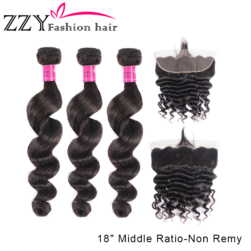 ZZY Loose Deep Wave Bundles With Frontal Closure Non-remy Human Hair Bundles Brazilian Hair Weave 3 Bundles With 13*4 Frontal