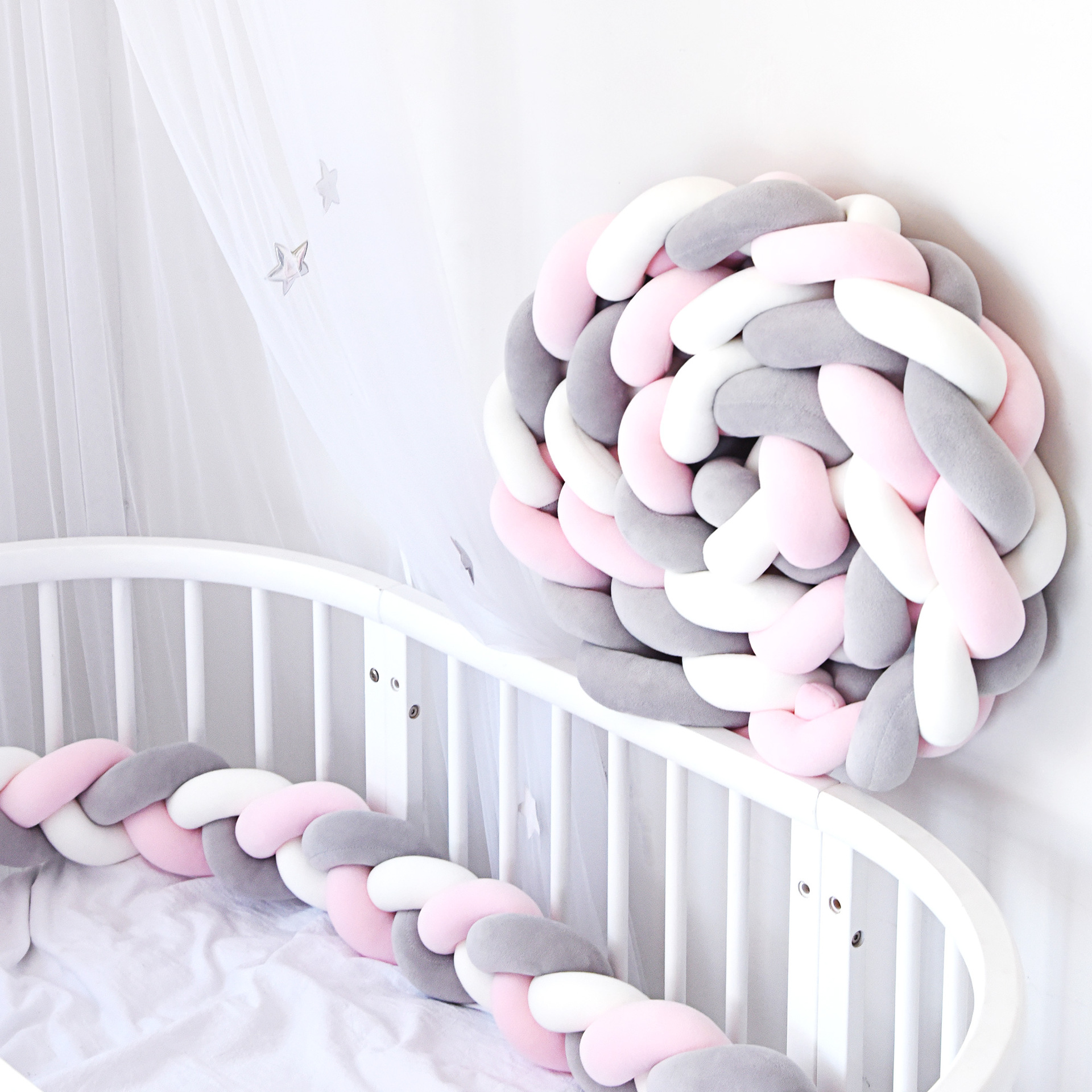 3M Length Baby Bumper  Weave Plush Knot Bed Boys Room Decor Kids Decoration In Room Baby Cot Bumper
