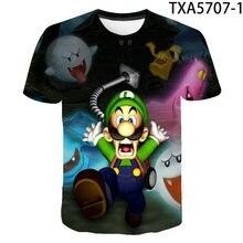2020 novo verão luigis mansão 3d t camisas casuais streetwear menino menina crianças da forma dos homens das mulheres crianças impresso camiseta topos t