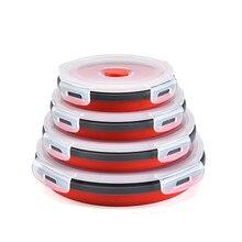 Conjunto de caixa de almoço de dobramento de silicone redondo microondas recipiente de comida portátil tigela salada lanche com tampa 350ml 500ml 800ml 1200ml