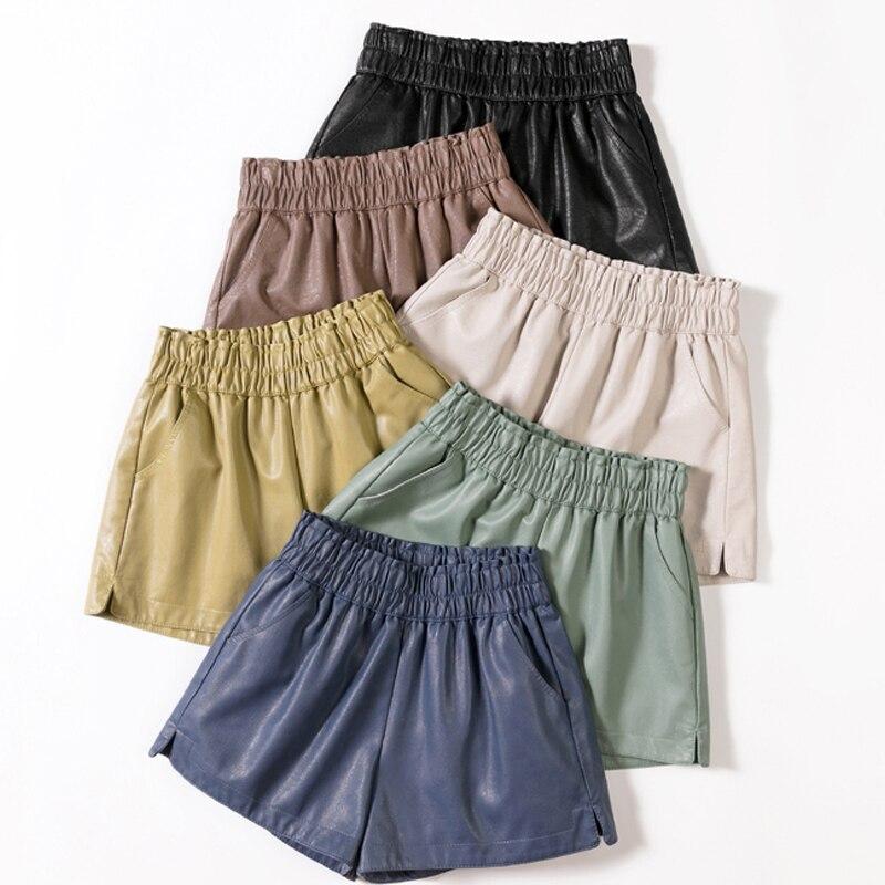 Shintimes Elastic Waist Korean High Waist Loose PU Leather Shorts Women 2019 Pocket Womens Clothing Leather Autumn Women Shorts