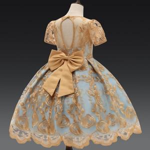 Image 5 - Vestido de fiesta de princesa con lazo de lujo para niña, vestidos de encaje con flores para niñas, ropa Formal de cumpleaños para niños, bata 7T