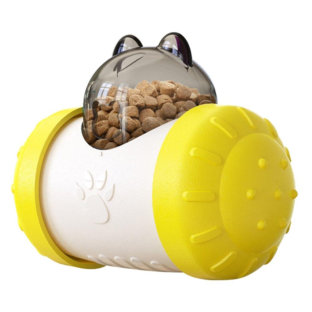 Yellow-Pet Dog Cat Toys Tumbler Pet Educational Interactive Toy Food Leaker Ball