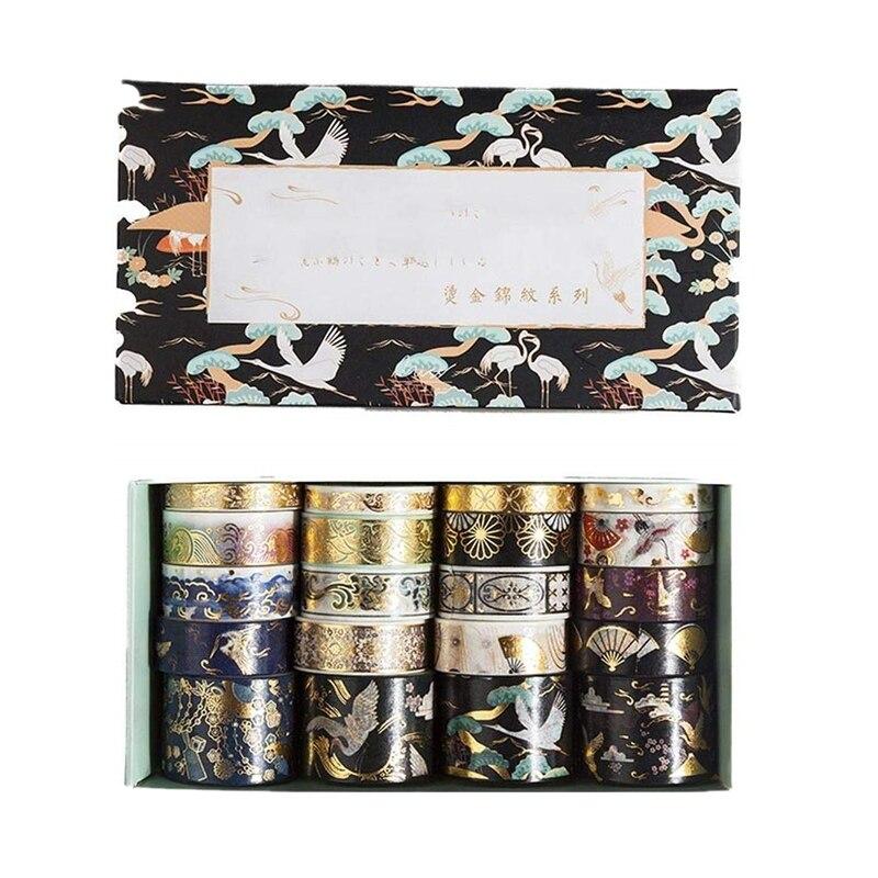 20pcs/pack Retro Gold Washi Masking Tape Set Diy Decor Scrapbooking Sticker Masking Paper Decoration Tape Adhesive