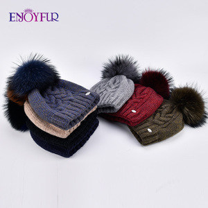 Image 5 - ENJOYFUR Thick Warm Double Layer Women Winter Hats Fashion Coarse Twist Type Knitted Hat Female Fur Pompom Cap Cashmere Beanies