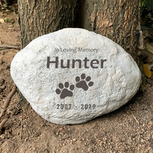 Custom Pet Memorial Stone Personalized Paw Print Dog Memorial Stone Tombstone Outdoor or Indoor for Garden Backyard Grave Marker