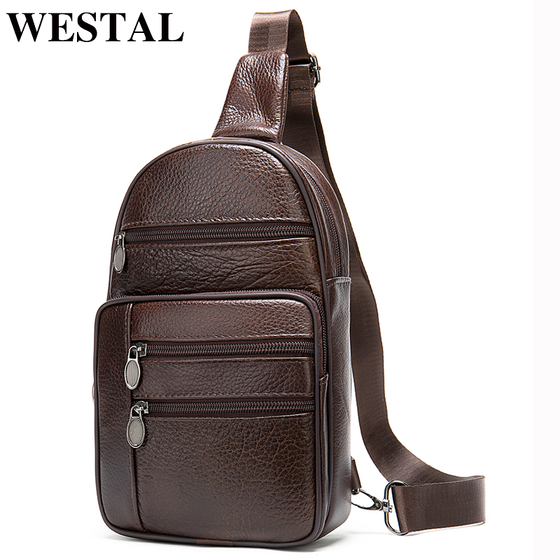 WESTAL Sling Bag Men's Shoulder Bag Genuine Leather Crossbody Bags For Men Vintage Messenger Bag Leather Chest Bag/Pack For Ipad