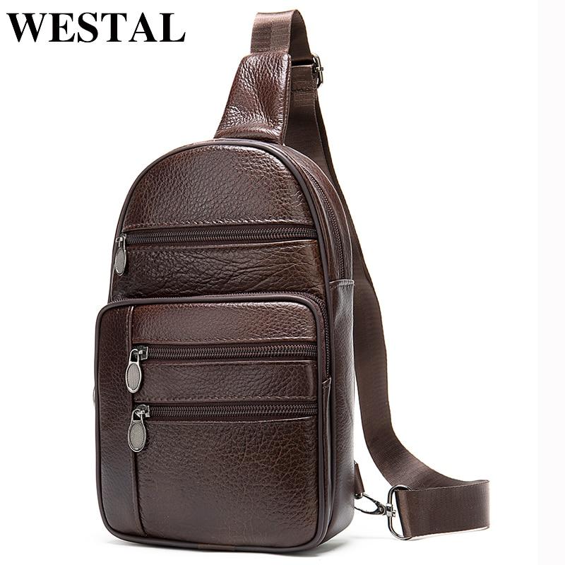 WESTAL Sling Bag Men's Shoulder Bag Genuine Leather Crossbody Bags For Men Vintage Messenger Bag Leather Chest Bag/Pack For Ipad