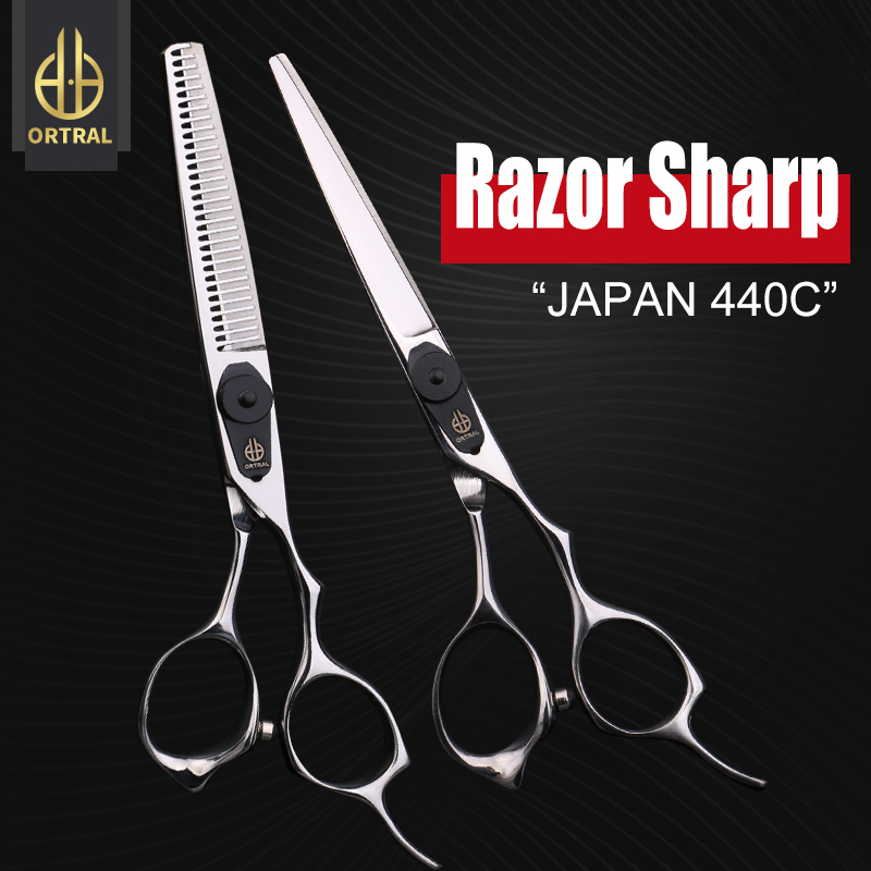 ORTRAL Japan Steel 440C 6 Inch Cutting Thinning Styling Tool Hair Scissors Professional High Quality Barber Scissors Set Shears Hairdressing Scissors Salon Shears