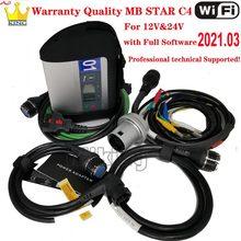 Гарантия качества, полный чип MB Star C4 SD, программное обеспечение для подключения 12/2020 WIFI MB Star C4, диагностические инструменты для автомобиля/гр...