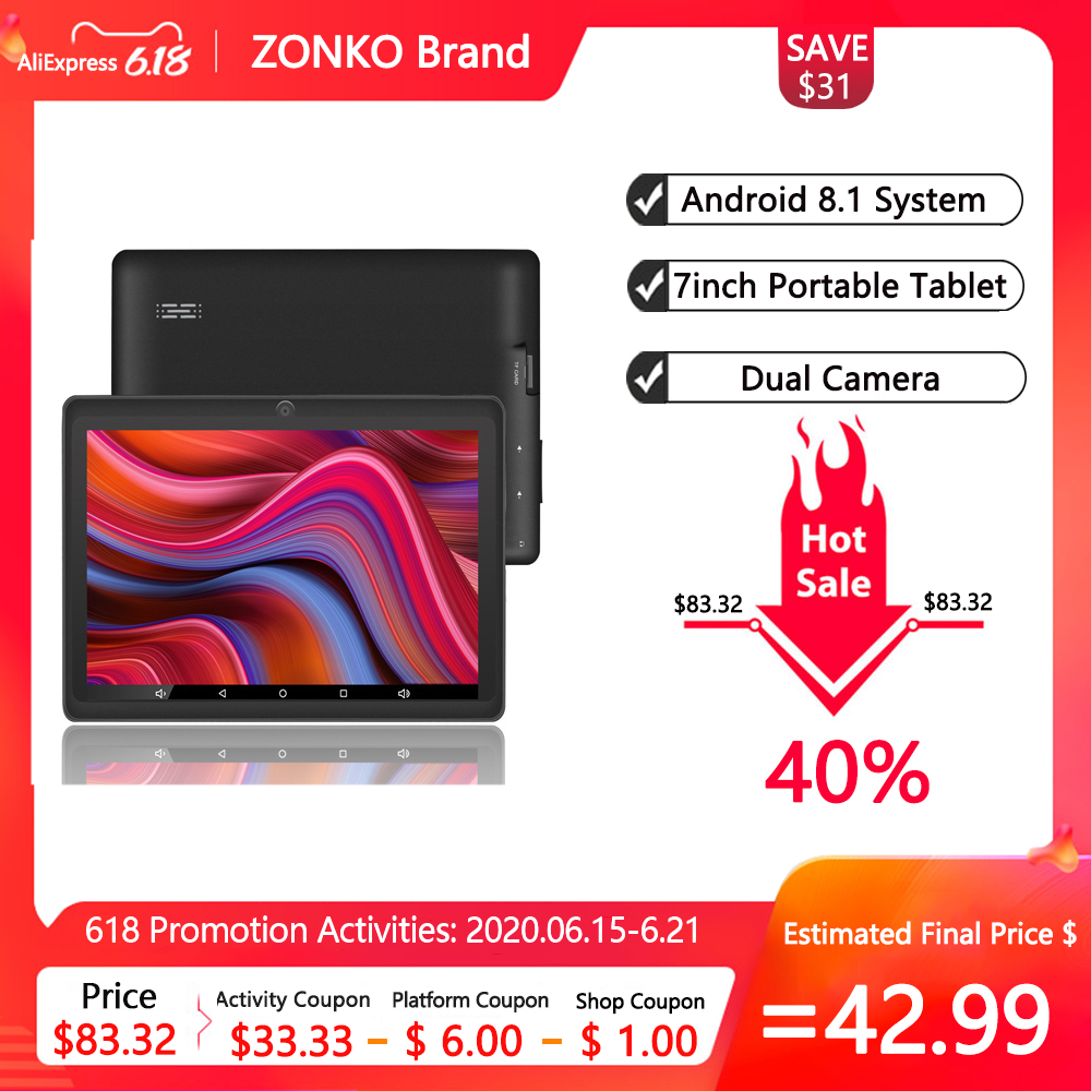ZONKO 7 Inch Tablet Android 8.1 Portable Tablet PC GPS Quad Core 1024*600 IPS Dual Cameras WiFi 1GB RAM 8GB ROM Study Tablets