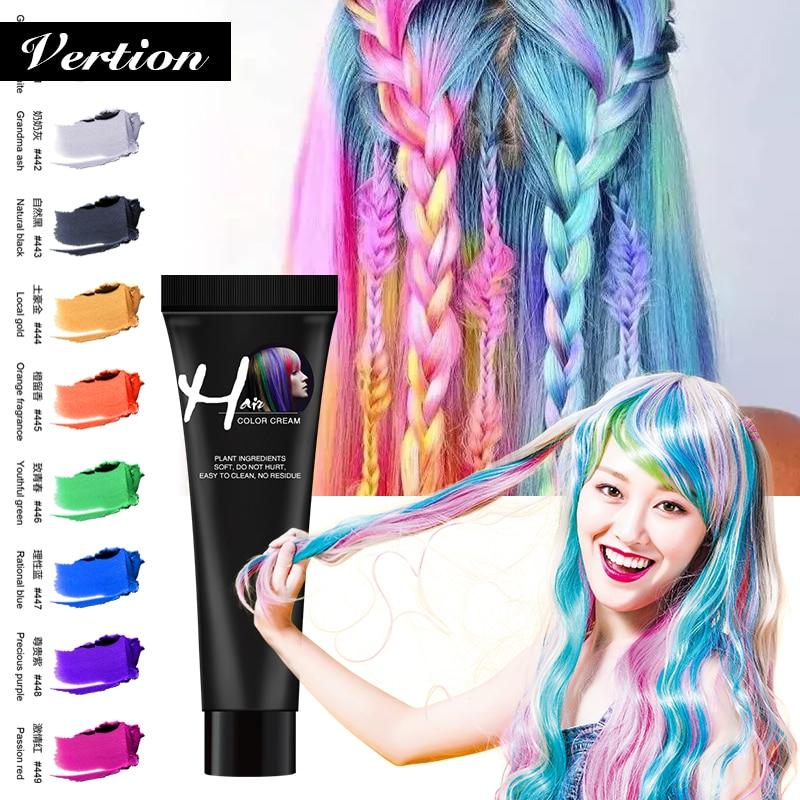 Verntion Hair Color Dye Disposable Hair Color Paste Cream Hair Dye Hair Gel Coloring Molding Wax Women Men Hair Styling Dirt DIY