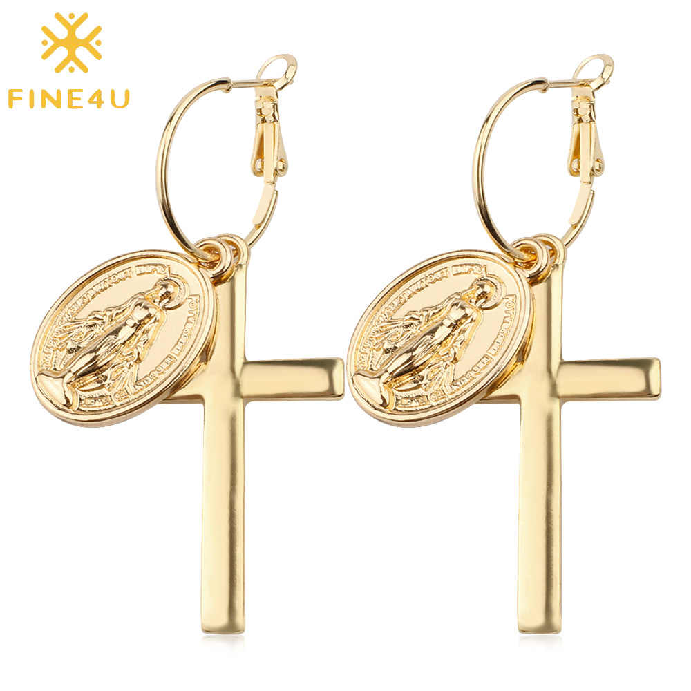 FINE4U E103 Religious Cross Virgin Mary Dangle Earrings For Women Stainless Steel Drop Earrings Crucifix Rosary Jewelry