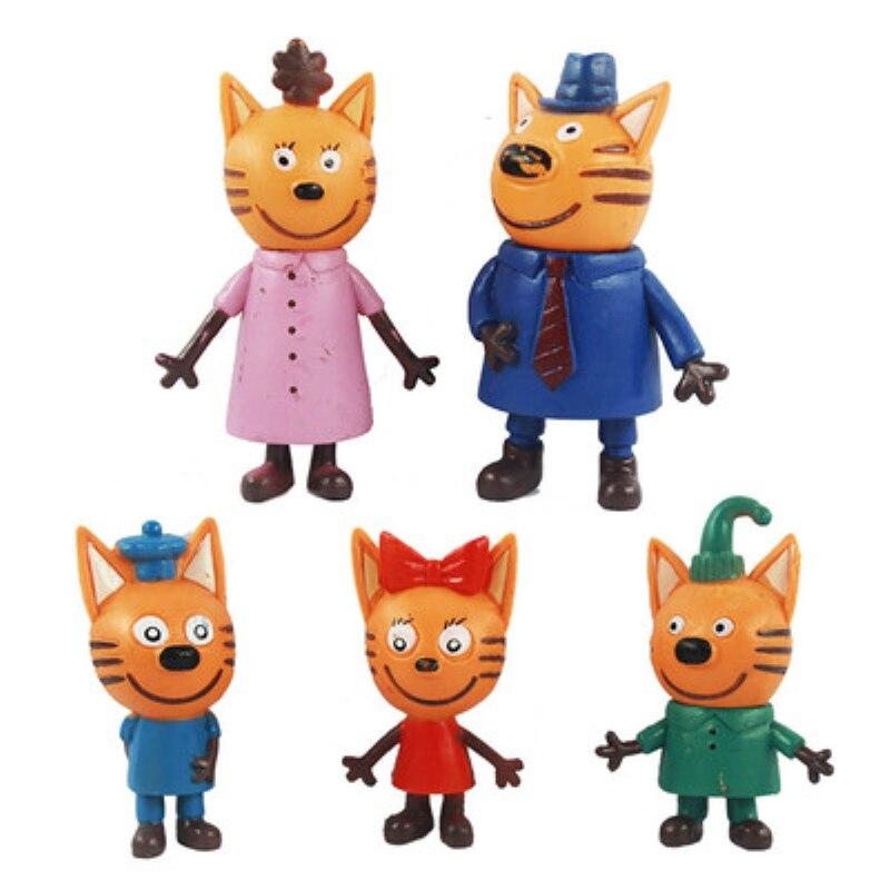 5pcs/lot Three Little Kittens Action Figure Toys Russian Cartoon Anime Mini Happy Cats TpnkoTa Doll For Children Christmas Gift