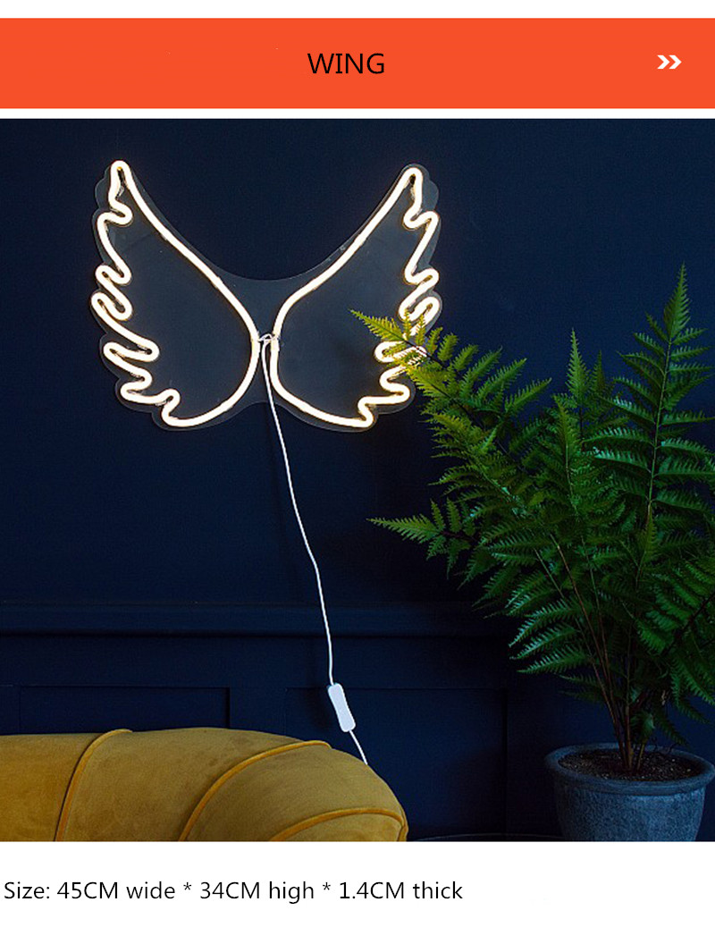 LED Neon Light Neon Top Panel Lights Colorful Lamp Wing Ice Cream Neon Pink Children's Room Home Store Decoration Sexy Sign image