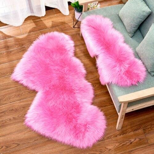 Heart Shaped Wool Sheepskin Rugs Faux Fur Non Slip Bedroom Shaggy Carpet