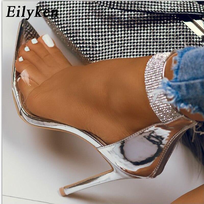 Eilyken 2020 Summer New Crystal Ankle Strap Sandals Women Sexy Open Toe PVC Zipper Thin High Heels Sandals Female Wedding Shoes