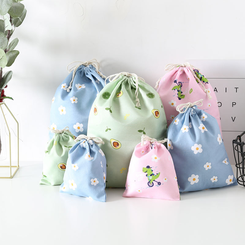 Wholesale Price Cotton Drawstring Pouch Packaging Gift Bag Flower Printed Jewelry Christmas Bag Trav