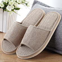2019 Natural Flax Home Slippers Indoor Floor Shoes Silent Sweat For Summer Women Sandals