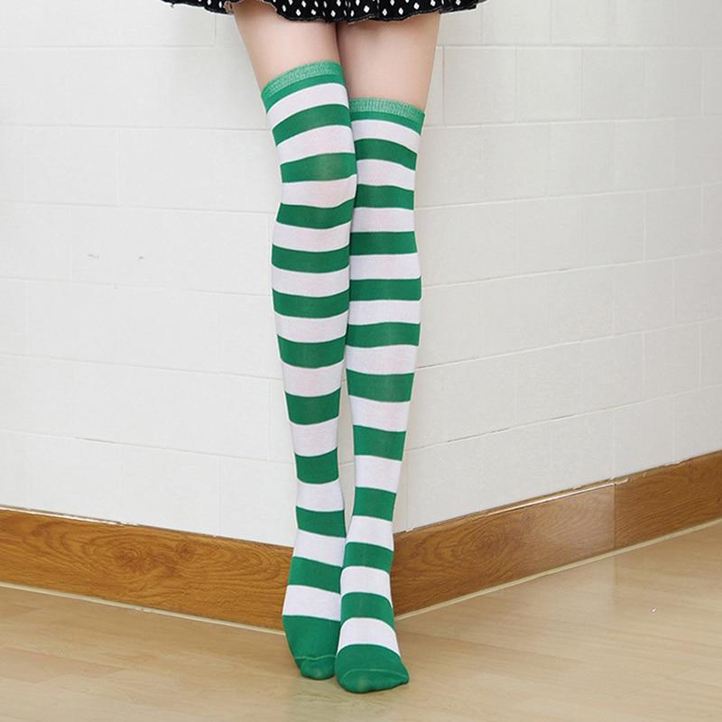 Зеленые гольфы сексуальные тонкие длинные носки в полоску осенне зимние Модные