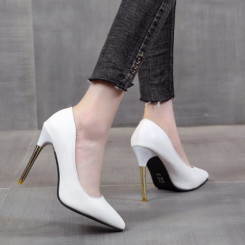 Bianco Testa Tonda Tacchi Alti Tacchi Sottili Eleganti Scarpe Singolo Pompe Sexy Scarpe di Grandi Dimensioni Scarpe Da Lavoro delle Donne Professionali 41,42,43