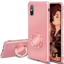Diamond Case for iPhone XS Max XR X Cover Ring Kickstand Sparkly Luxury Car Mount Cover For iPhone 8 7 6 6s Plus 5 5s SE Case(China)