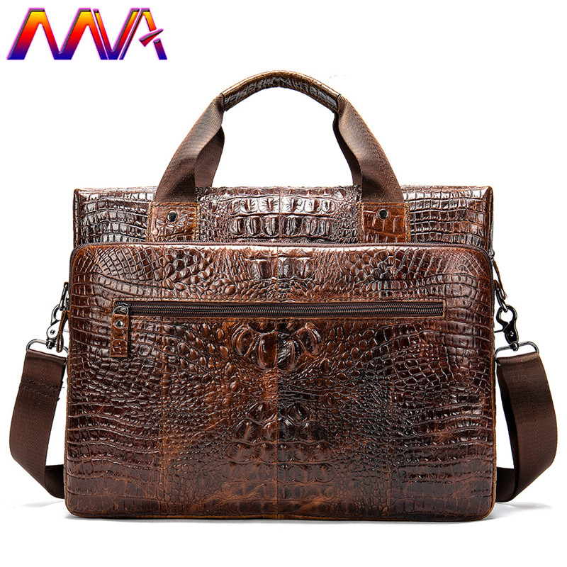 MVA Genuine Leather Briefcase Men Casual Handbag Crocodile Leahter Men`s Crossbody Bag Women Leather Briefcase Laptop Bag