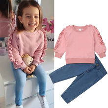 Fashion Kids Baby Girl Clothes Pink Ruffle Tops Shirt Denim Pants Autumn Winter Warm Outfit 2Pcs Set