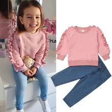 Fashion Kids Baby Girl Clothes Pink Ruffle Tops Shirt Denim Pants Autumn Winter Warm Outfit 2Pcs Set