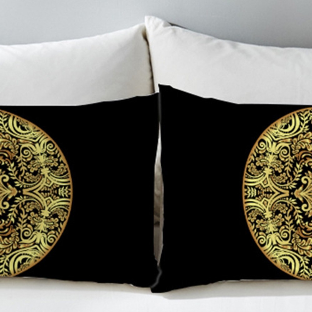 2PCS New Gilt Flower Circular Home Textile Golden Mandala <font><b>Pillow</b></font> <font><b>Case</b></font> Pillowcase Fashion <font><b>Pillow</b></font> Cover 50x75cm <font><b>50x90cm</b></font> image